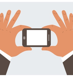 Businessman hands holding mobile phone vector
