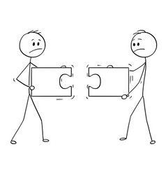 cartoon of two businessmen holding and trying to vector image