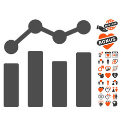 Charts icon with dating bonus vector