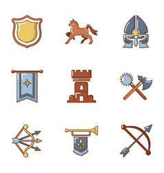 chivalric age icons set cartoon style vector image