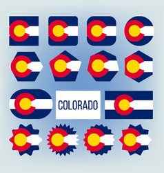 colorado state various shapes flags set vector image