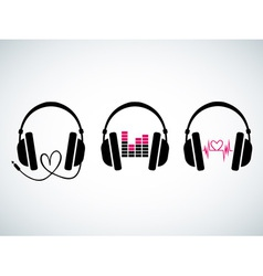 Creative music headphones logo set vector image
