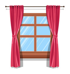 Curtains on wooden widow blinds or shutters vector