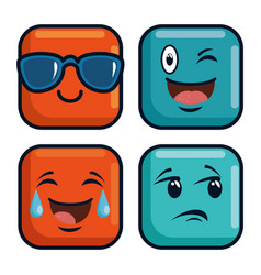 Cute emoji emoticons emotional faces icons vector