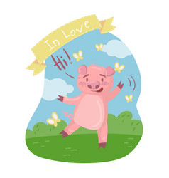 cute pig character saying hi while walking in vector image