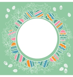 Delicate frame with easter eggs vector image