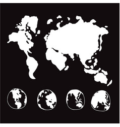 doodle world globe map icon design vector image