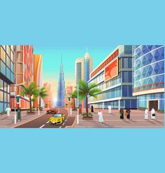 dubai street cityscape uae city skyline vector image