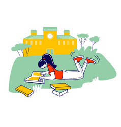 education concept girl lying on grass reading vector image