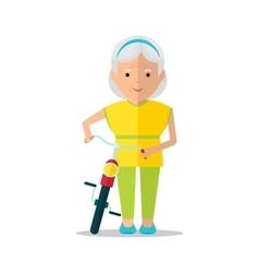 Elderly women walk with bicycle vector