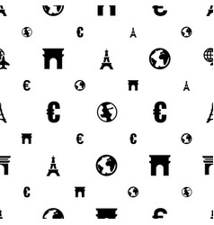 Europe icons pattern seamless white background vector