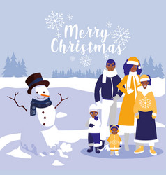 family black with clothes christmas in winter vector image