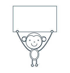 figure monkey with a wood in the hand icon vector image
