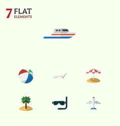 Flat icon season set of aircraft deck chair boat vector