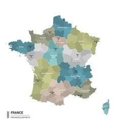 france higt detailed map with subdivisions vector image