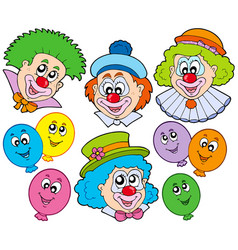 funny clowns collection vector image