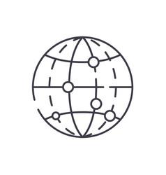 global data encryption line icon concept global vector image