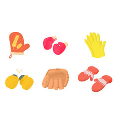 gloves icon set cartoon style vector image
