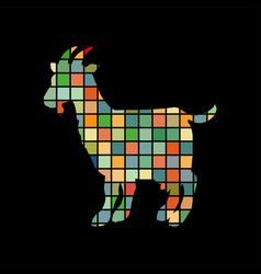 Goat farm mammal color silhouette animal vector