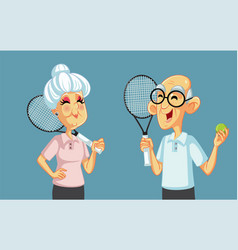 grandparents playing tennis together cartoon vector image