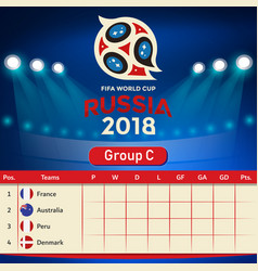 group c qualifier table russia 2018 world cup vect vector image