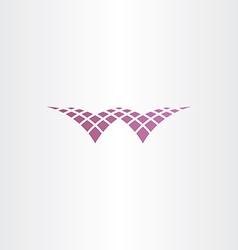 halftone letter w purple icon vector image