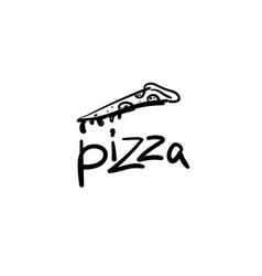 hand drawn logo pizza sketch vector image