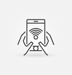 Hands with smartphone outline icon wi-fi vector