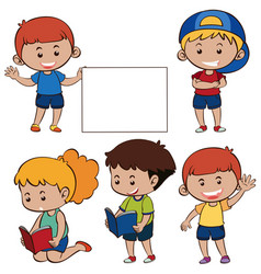 happy children and white paper vector image