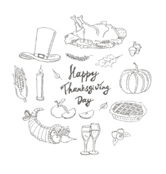 Happy Thanksgiving Day Hand Drawn Holiday Design vector image