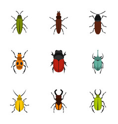 Insect icons set flat style vector