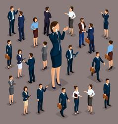 isometric concept big businesswoman vector image