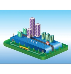 Isometric view of the city vector image