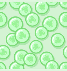 kawaii style green seamless pattern vector image