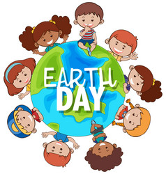kids around earth for earth day vector image