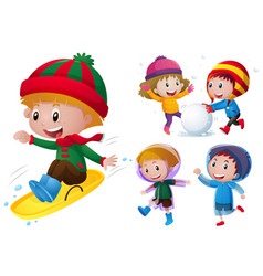 Kids playing with snow and rain vector