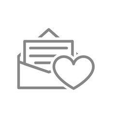Letter with heart line icon customer feedback vector