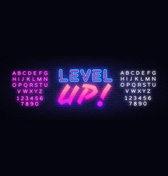 level up neon sign gaming design template vector image