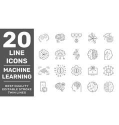 line icons set ai machine learning and data vector image