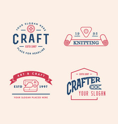 logo design handmade diy craft tailoring and vector image