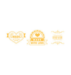 made with love logo set hand made golden emblems vector image