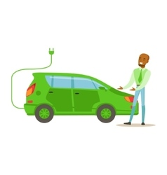 Man Demonstrating Green Electric Car vector
