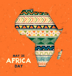 May 25 africa day card tribal art african map vector