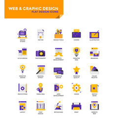modern material flat design icons - web and vector image
