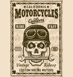 Motorcycles poster with skull in helmet vector