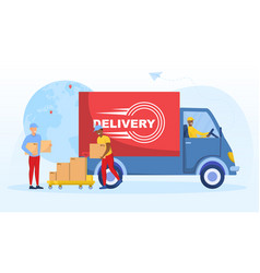 multiracial delivery worker vector image