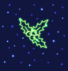 Neon christmas mistletoe icon in line style vector