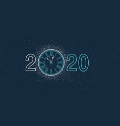 new year clock 2020 vector image
