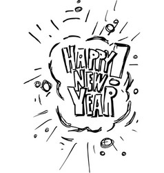 New year lettering sketch for greeting card vector