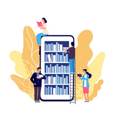 online library people reading books vector image